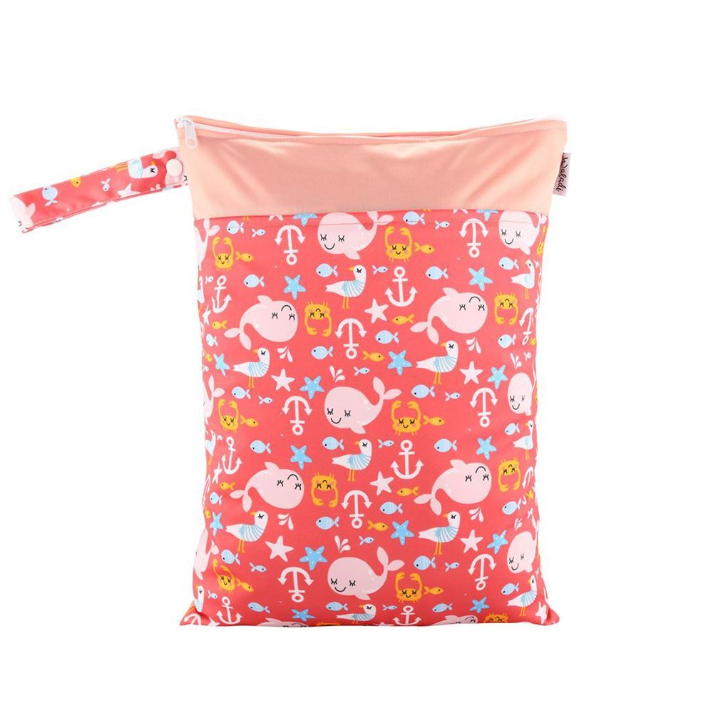 ff3ce73bc6d4 Waterproof Double Zip Wet Bag Pink Whales 30x40cm - Medium