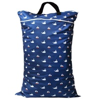 Waterproof Double Zip Large Wet Bag Whales & Boats 40x70cm