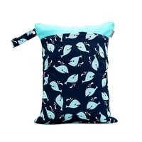 Waterproof Double Zip Wet Bag Navy Whales 30x40cm