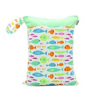 Waterproof Double Zip Wet Bag Green Fish 30x40cm