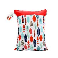 Waterproof Double Zip Wet Bag Red & Colourful Feathers 30x40cm