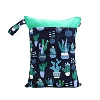 Waterproof Double Zip Wet Bag Navy Cactus 30x40cm