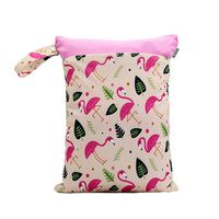 Waterproof Double Zip Wet Bag Pink Flamingo 30x40cm